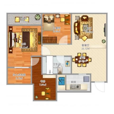 瑶溪凤凰城3室2厅1卫1厨91.00㎡户型图