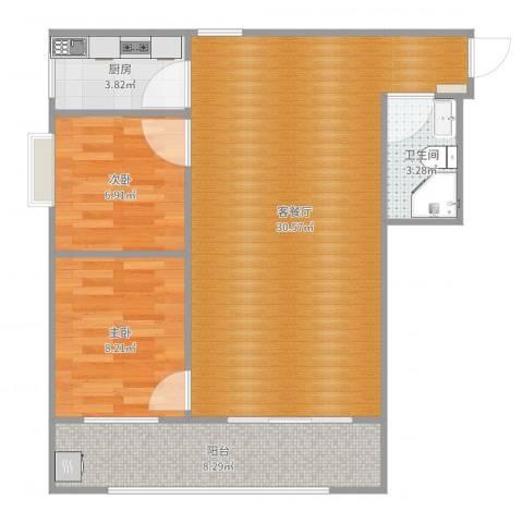 汉都故里2室2厅1卫1厨76.00㎡户型图