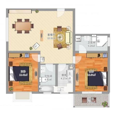 东方绿洲2室2厅2卫1厨110.00㎡户型图