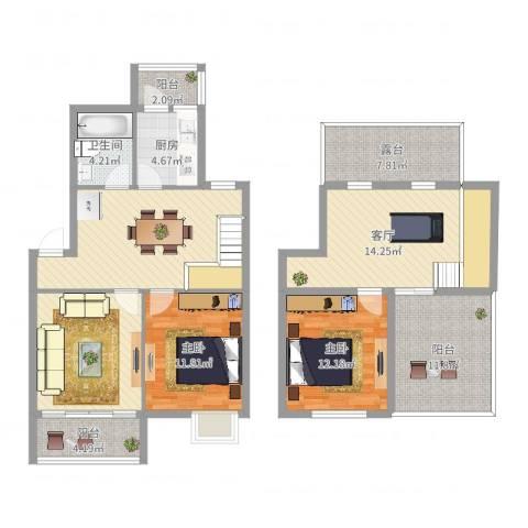 宁静家园2室1厅1卫1厨134.00㎡户型图