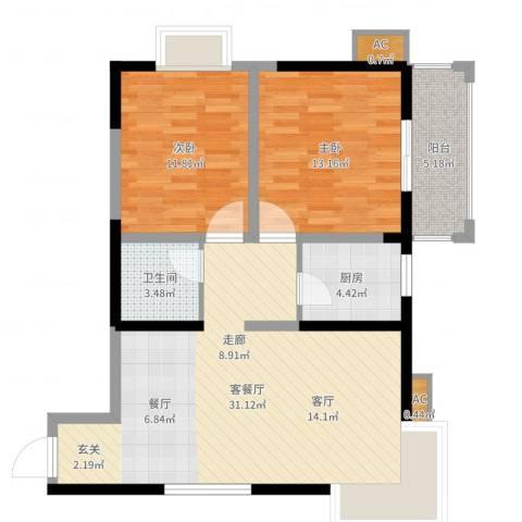 高科花园2室2厅1卫1厨88.00㎡户型图
