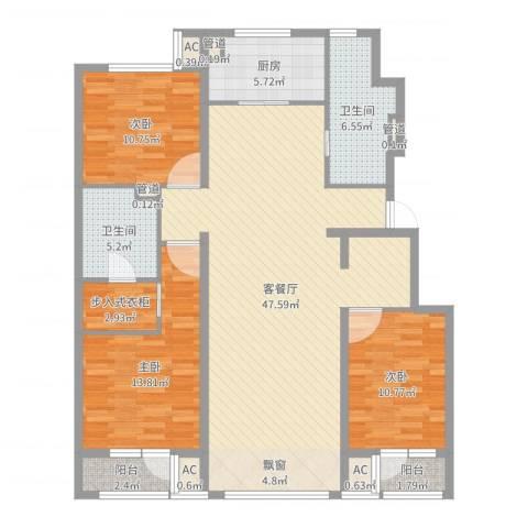 中粮万科紫云庭3室2厅5卫4厨137.00㎡户型图