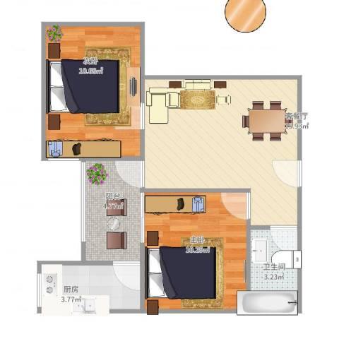 东方绿洲2室2厅1卫1厨66.00㎡户型图
