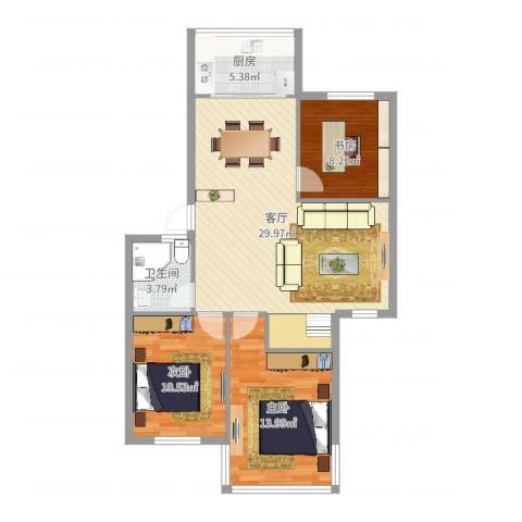 福明家园3室1厅1卫1厨92.00㎡户型图