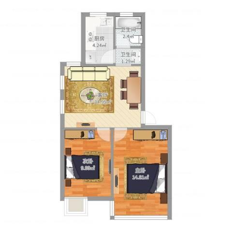 福明家园2室1厅2卫1厨60.00㎡户型图