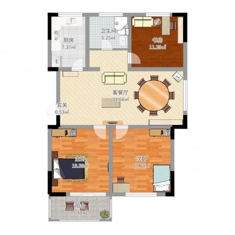 香格里拉花园3室2厅1卫1厨116.00㎡户型图