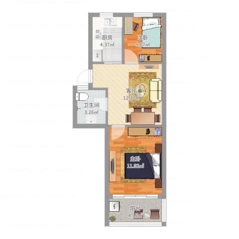 镇安新村2室1厅1卫1厨52.00㎡户型图