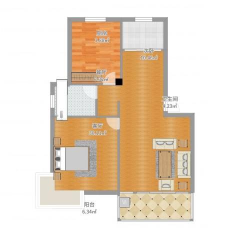申鑫名城1室1厅1卫1厨89.00㎡户型图