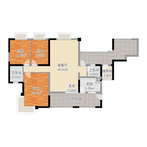 兰乔圣菲3室2厅2卫1厨159.00㎡户型图