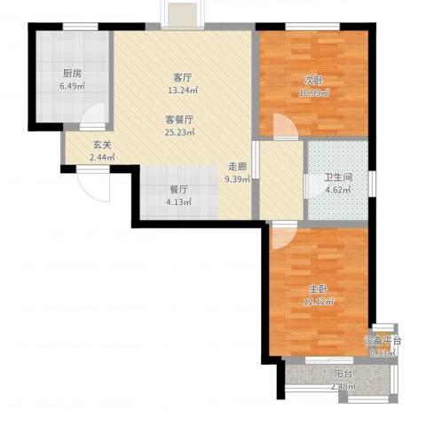 丽景蓝湾2室2厅1卫1厨82.00㎡户型图