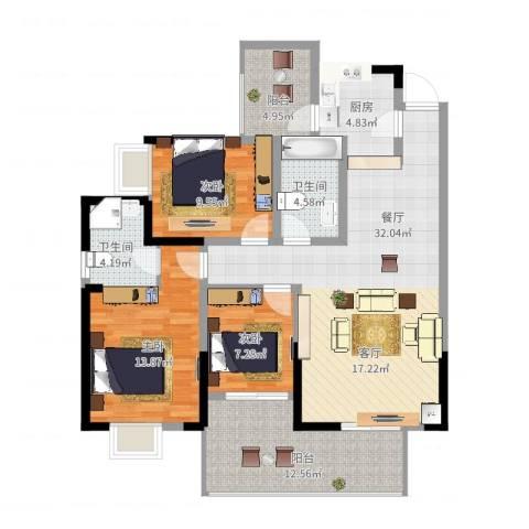 楠香山3室1厅2卫1厨135.00㎡户型图