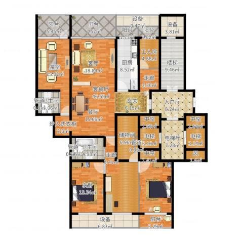 中华家园1室2厅2卫1厨256.00㎡户型图
