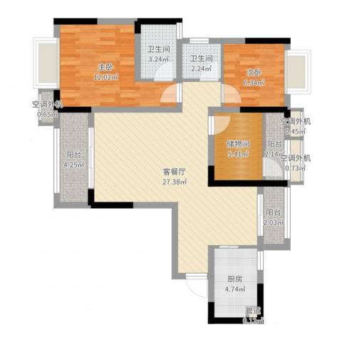 美丽泽京2室2厅2卫1厨90.00㎡户型图