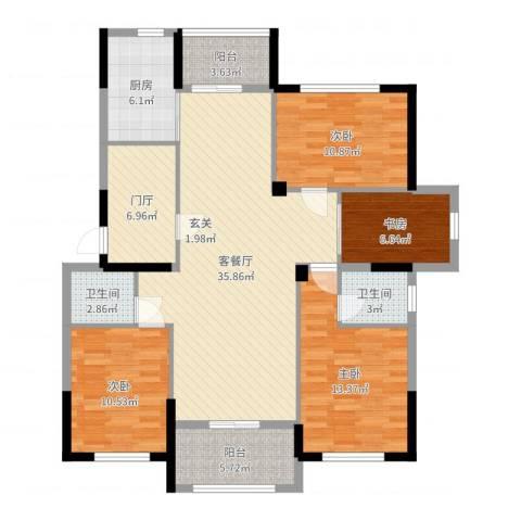 紫阳苑4室2厅2卫1厨132.00㎡户型图