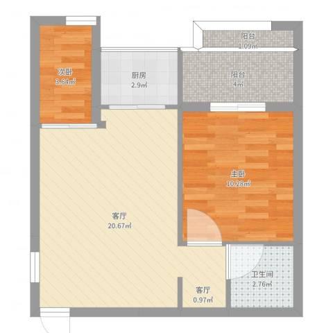 玛雅上层2室1厅1卫1厨57.00㎡户型图
