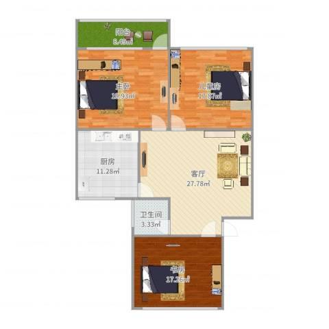 燕山小区3室1厅1卫1厨130.00㎡户型图
