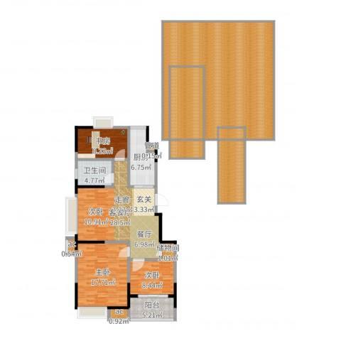 百丽明珠花园3室2厅1卫1厨207.00㎡户型图