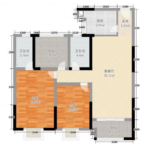 路劲城市主场2室2厅2卫1厨105.00㎡户型图