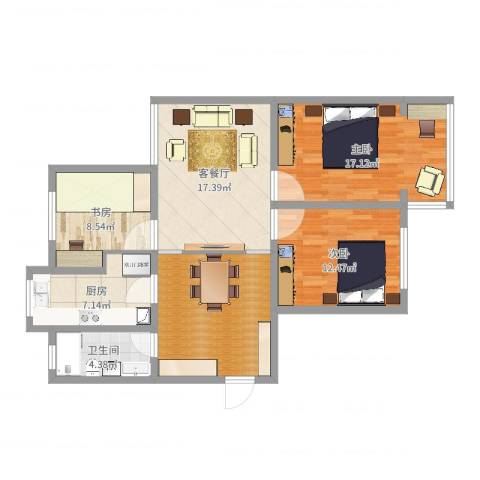 丰涵家园3室2厅1卫1厨125.00㎡户型图