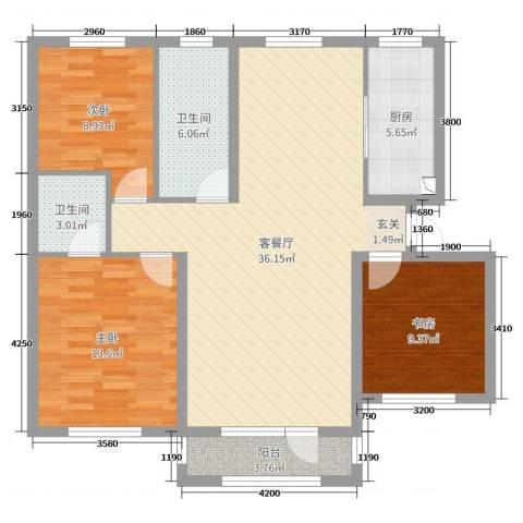 鸿玮澜山二期 和院3室2厅2卫1厨120.00㎡户型图