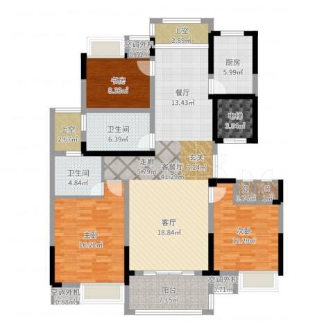新浪琴湾3室2厅2卫1厨145.00㎡户型图