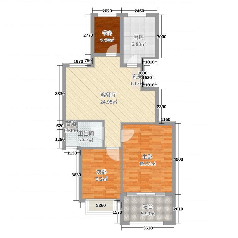 华宇兰园90.00㎡A4户型3室3厅1卫1厨