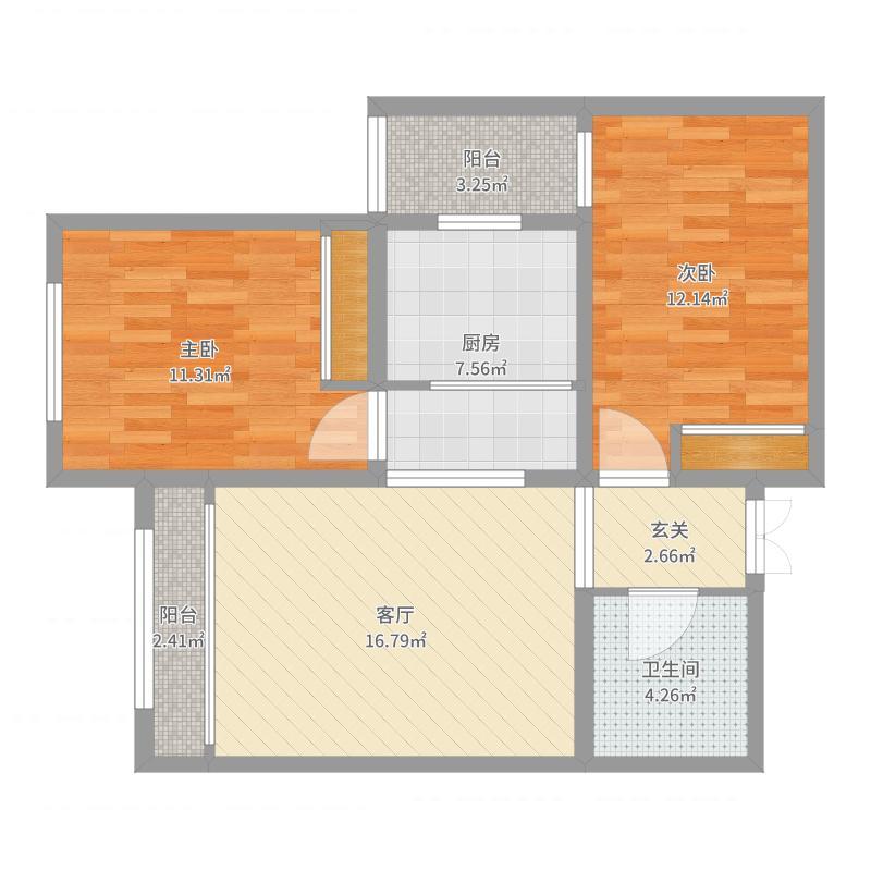 御景狮城91方A1户型两室两厅