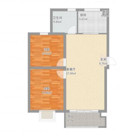 公元20992室2厅1卫1厨93.00㎡户型图