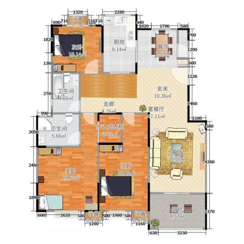 蓝湖西岸3室2厅4卫2厨159.00㎡户型图