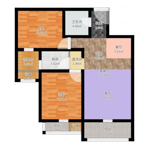 丽水苑2室2厅1卫1厨97.00㎡户型图