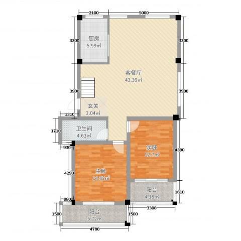 文象府2室2厅1卫1厨108.00㎡户型图