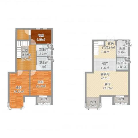 跃界3室2厅3卫1厨131.00㎡户型图