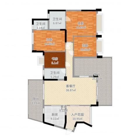 从化雅居乐滨江花园4室2厅3卫1厨209.00㎡户型图
