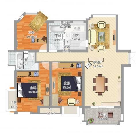优山美地别墅3室2厅2卫1厨119.00㎡户型图