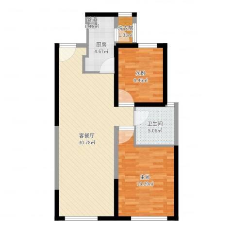 中铁・缇香郡2室2厅2卫2厨81.00㎡户型图