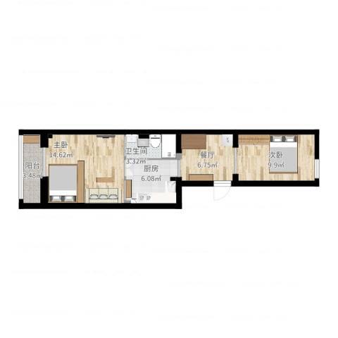 七贤村2室1厅1卫1厨55.00㎡户型图