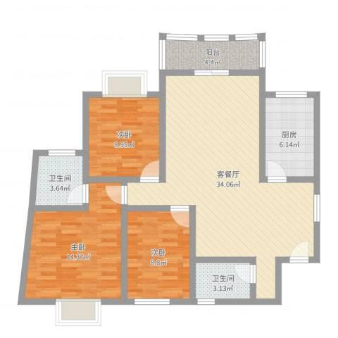 华盛家园3室2厅2卫1厨104.00㎡户型图