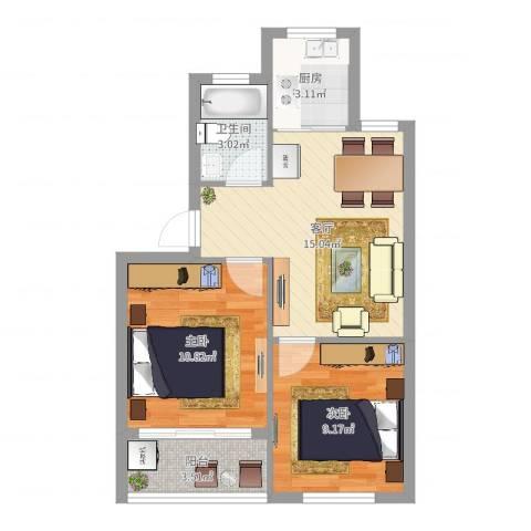 紫鹃新村2室1厅1卫1厨56.00㎡户型图