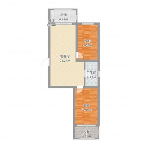 满融公馆2室2厅1卫1厨72.00㎡户型图