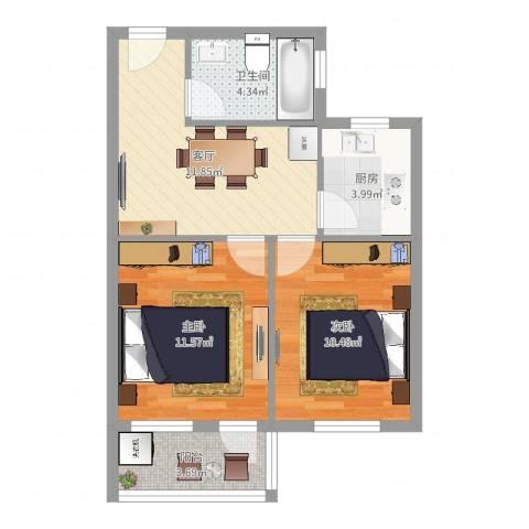 柏树花园2室1厅1卫1厨57.00㎡户型图