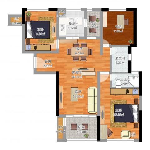 云梨小区3室2厅2卫1厨97.00㎡户型图