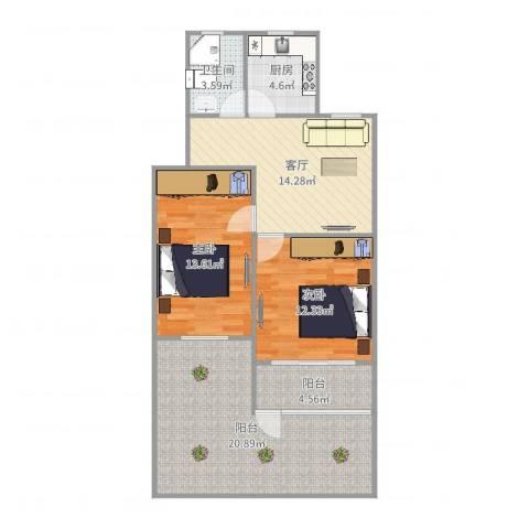 开城新村2室1厅1卫1厨92.00㎡户型图