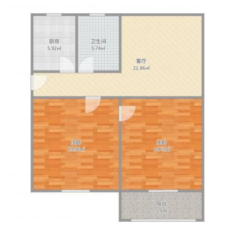 开城新村2室1厅1卫1厨97.00㎡户型图