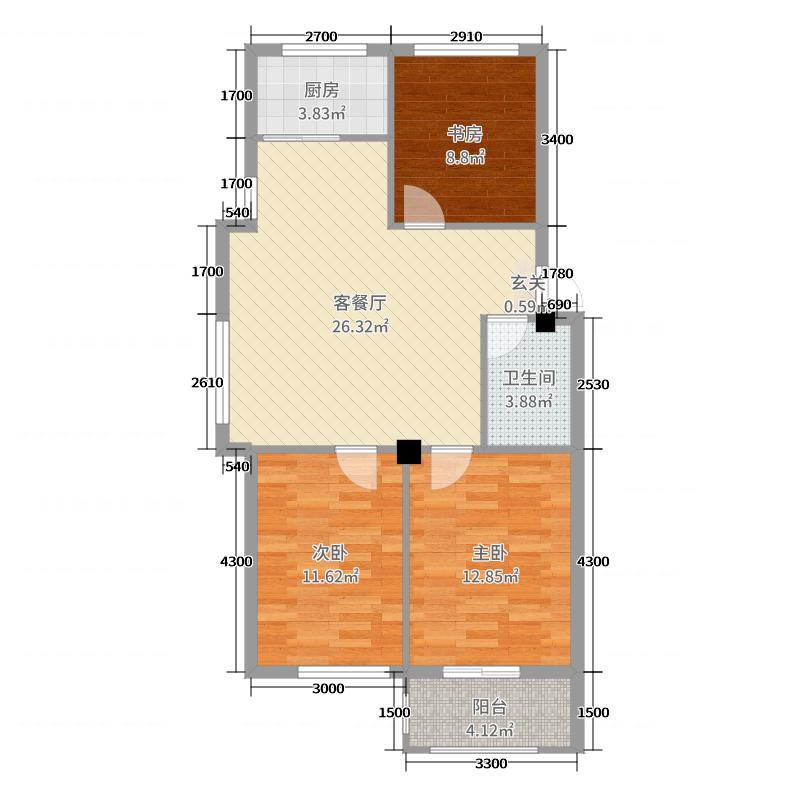 华新家园86.57㎡高层H1-1户型3室3厅1卫1厨