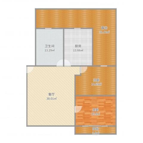 开城新村2室1厅1卫1厨163.00㎡户型图