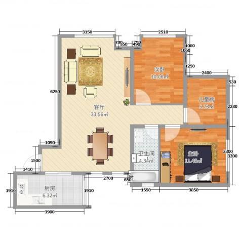 阳光满庭3室1厅1卫1厨89.00㎡户型图