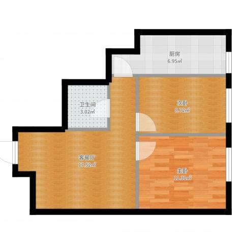 明城・新北市2室2厅1卫1厨59.00㎡户型图