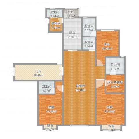 西安大明宫万达公馆3室2厅5卫1厨251.00㎡户型图