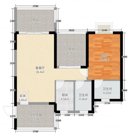 碧海蓝天三期1室2厅2卫1厨86.00㎡户型图