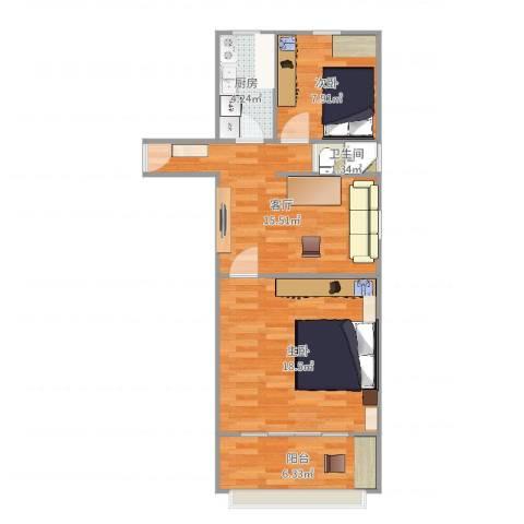 平乐园小区2室1厅1卫1厨67.00㎡户型图
